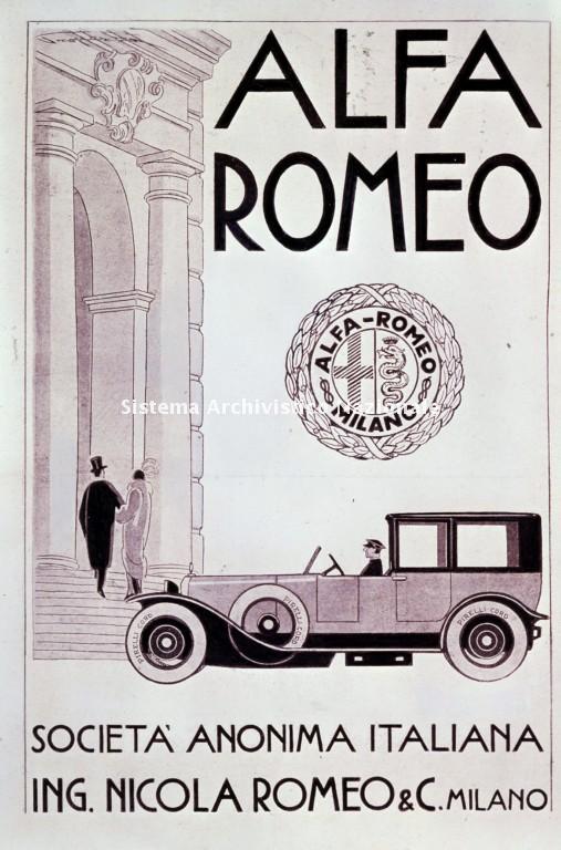Alfa Romeo, immagine pubblicitaria, 1920 ca