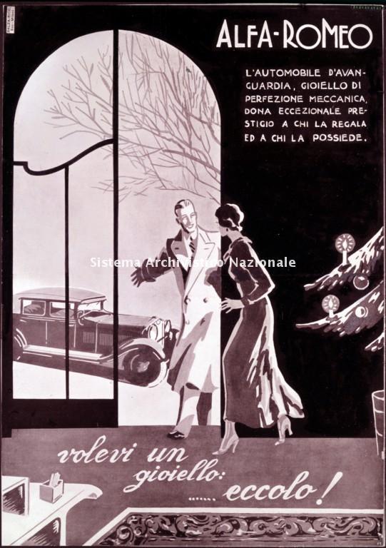 Alfa Romeo, immagine pubblicitaria, 1930 ca