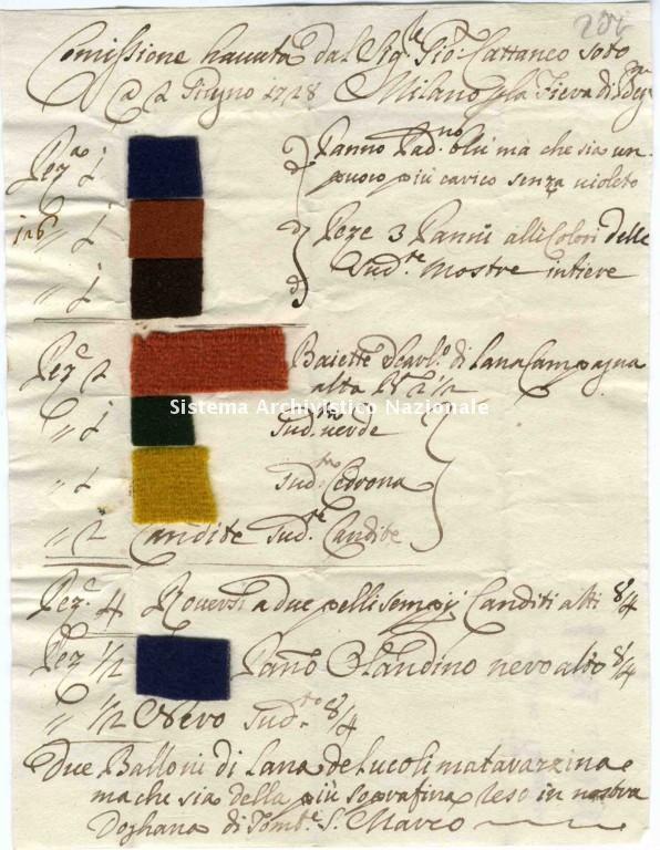 Campioni di stoffa, Milano 1728
