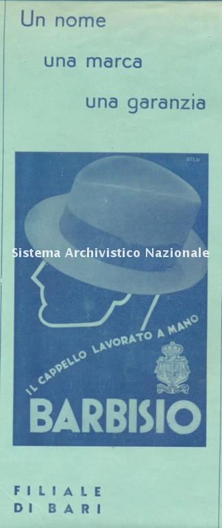 Marchio pubblicitario del cappellificio Barbisio di Bari, 1937