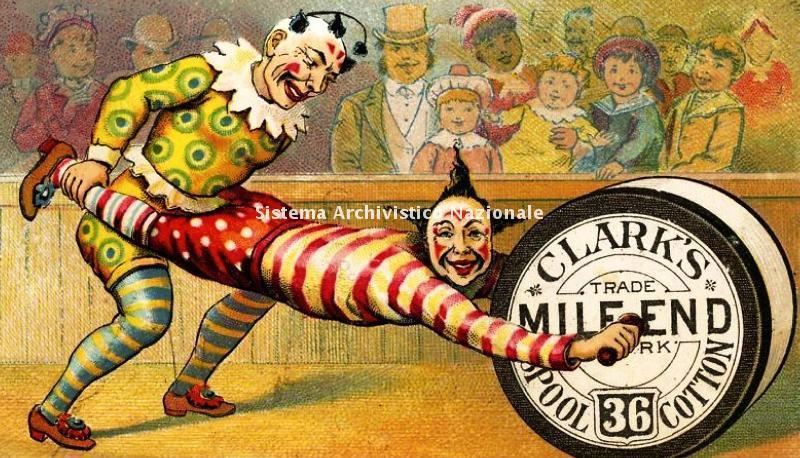Clark Mile-end Cotton Company, cartolina pubblicitaria, fine XIX sec.
