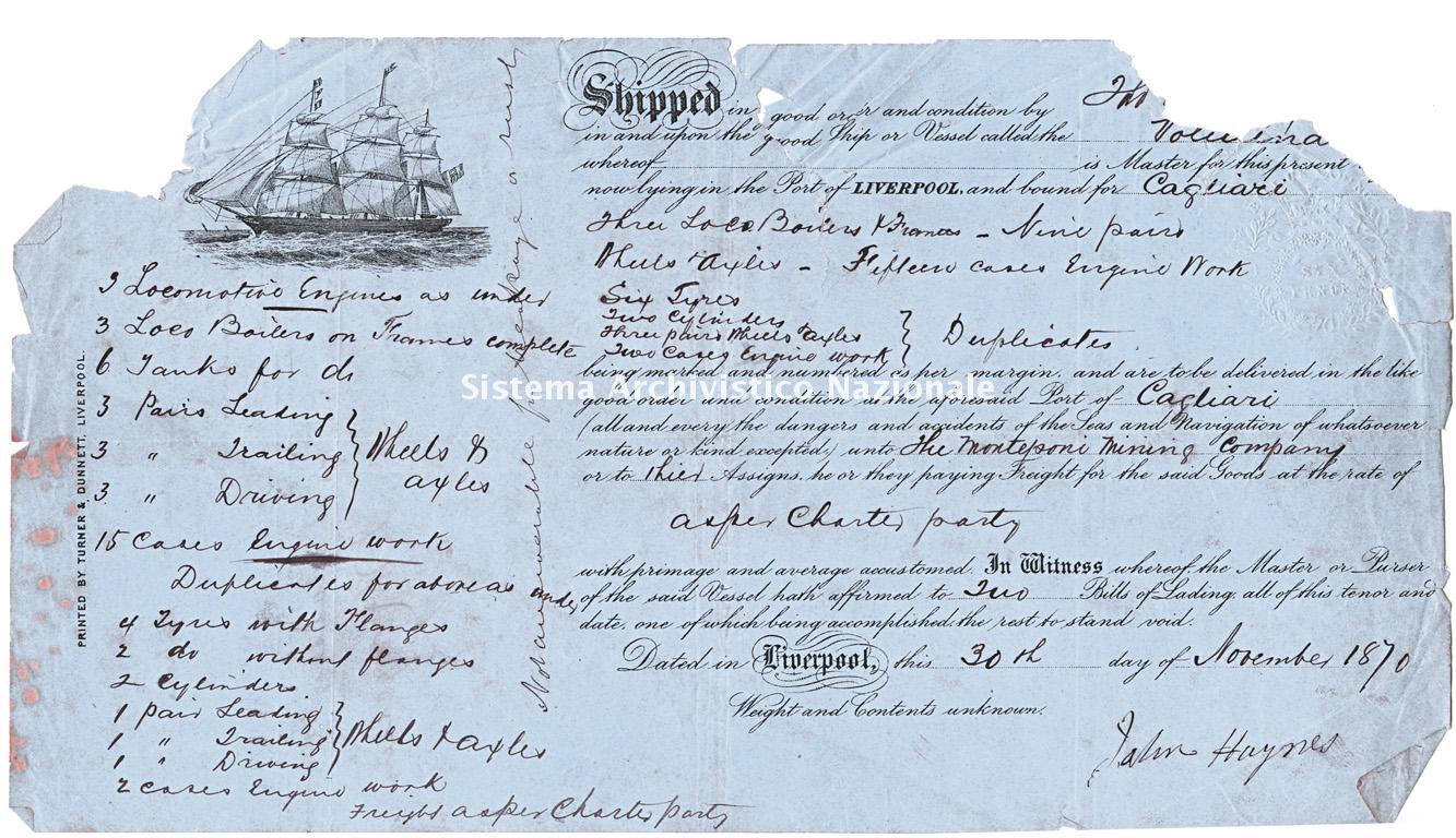 Nota di spedizione, Liverpool 1870