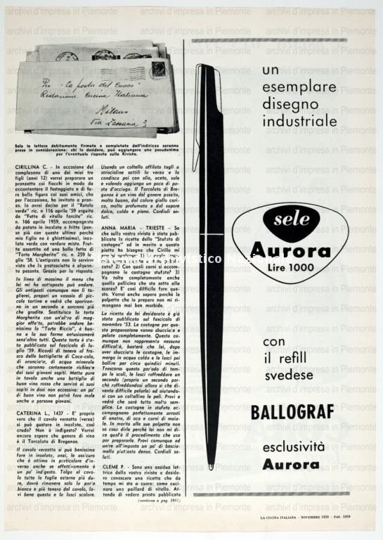 Aurora, stampa pubblicitaria, 1959