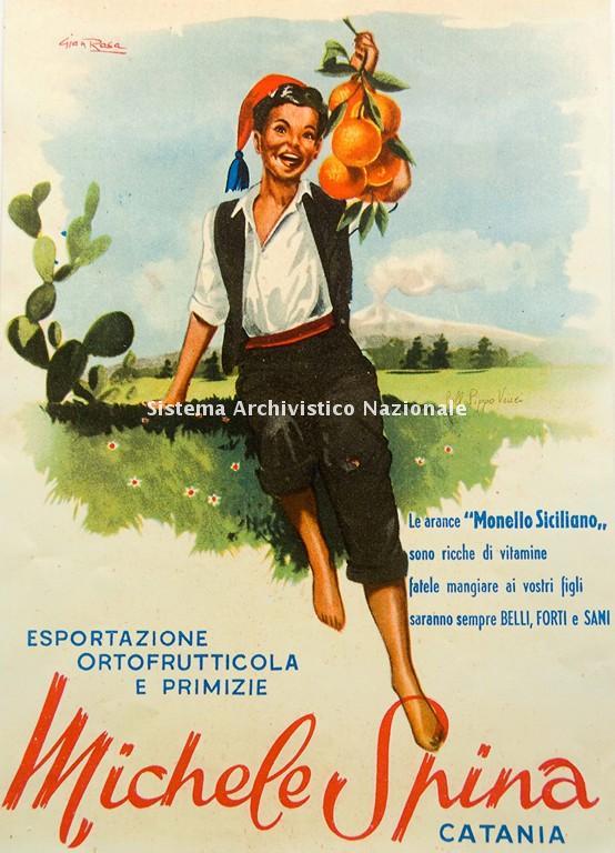 Ditta Michele Spina, manifesto pubblicitario, Catania 1940-1950