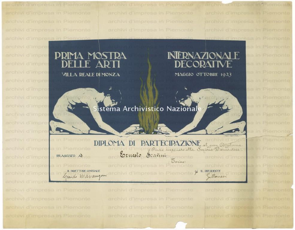 Lenci, diploma di partecipazione di Ernesto Scavini alla Prima Mostra Internazionale delle Arti Decorative di Monza, 1923