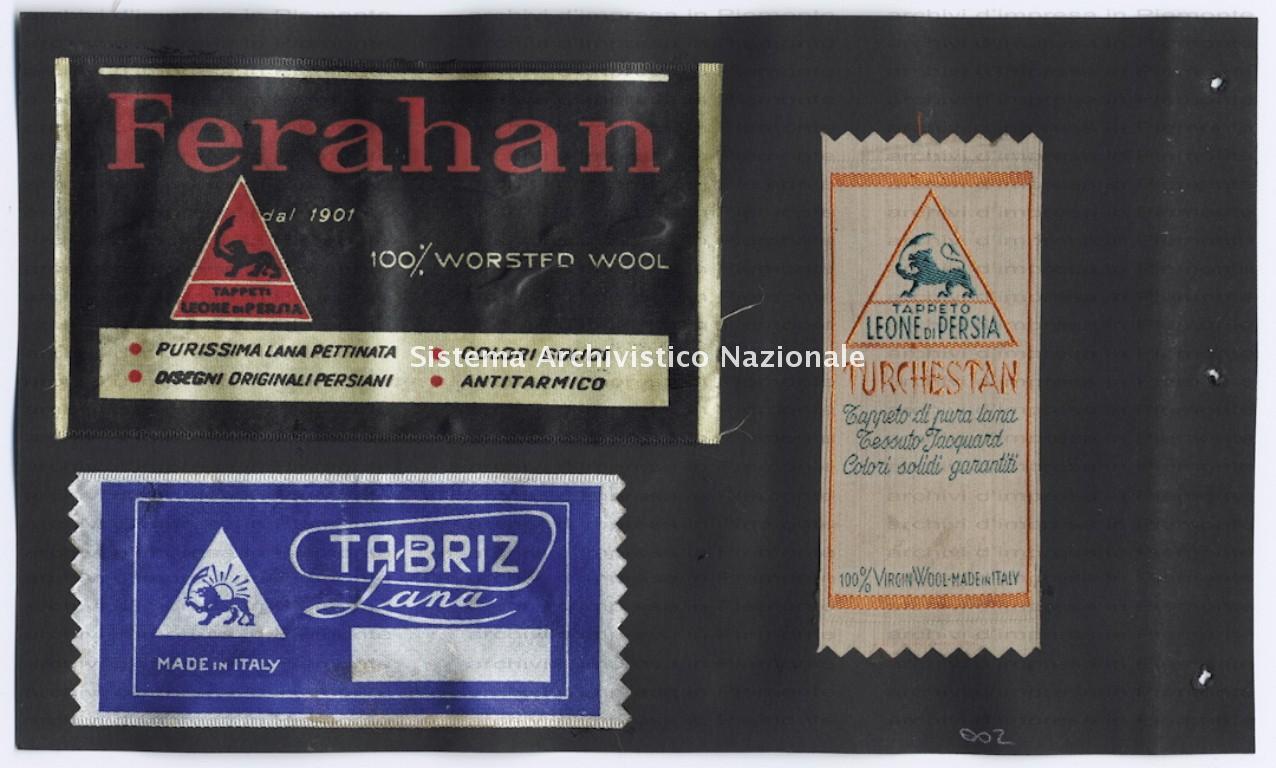 Paracchi, etichette Leone di Persia , 1940-1970