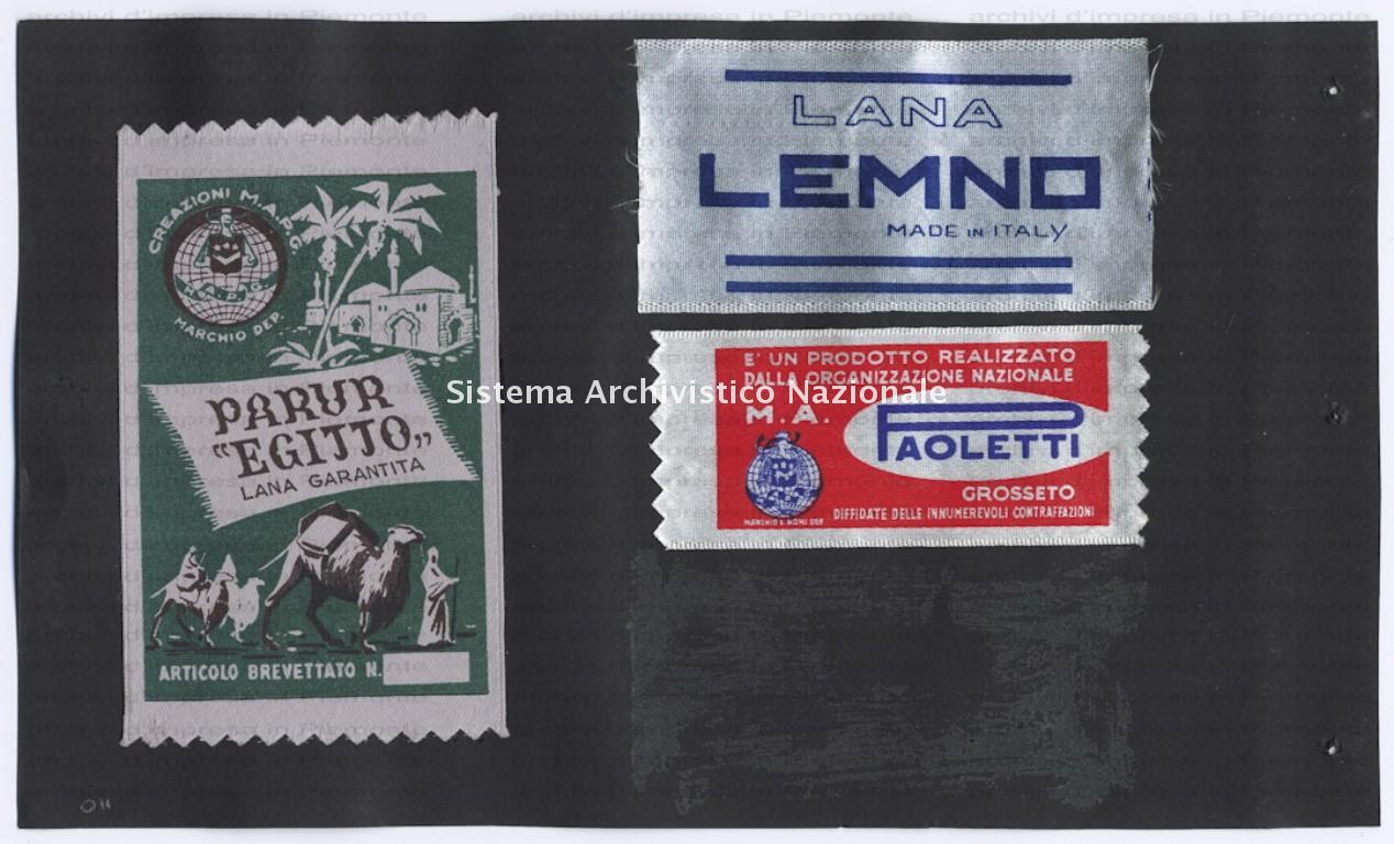 Album Leone di Persia, etichette di tappeti Paracchi, 1940-1970