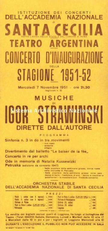 Accademia nazionale di Santa Cecilia, locandina, Roma 1951