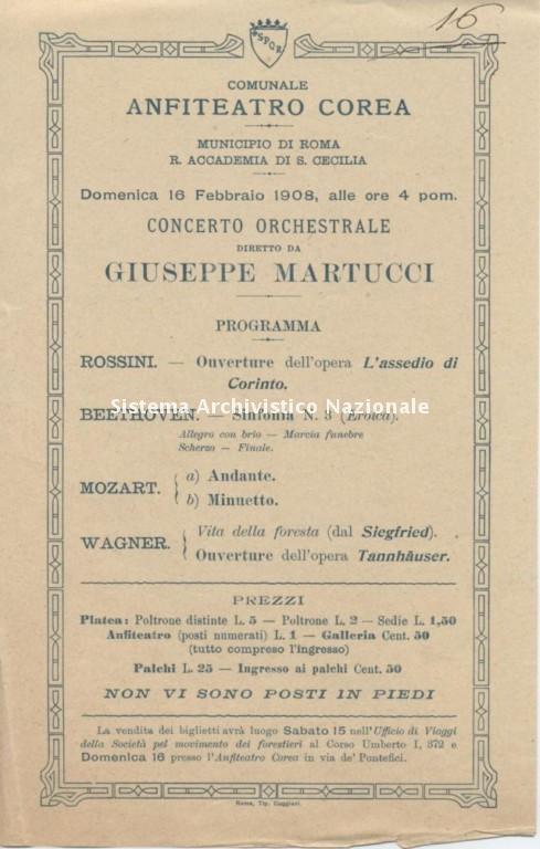 Regia Accademia di Santa Cecilia, programma di sala, Roma 1908