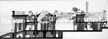 Sezione longitudinale del salone per la ristruttur...