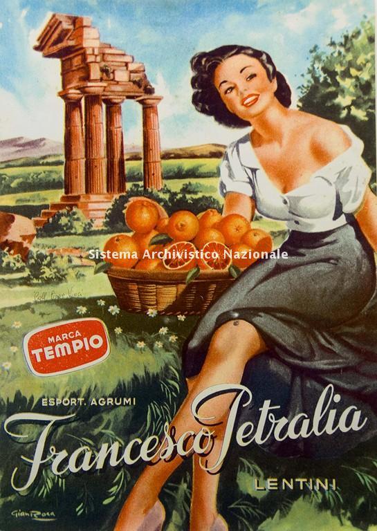 Francesco Petralia, manifesto pubblicitario, 1940-1950