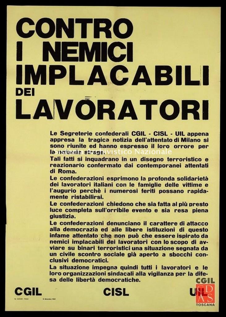 Cgil, Cisl, Uil, manifesto, 1969