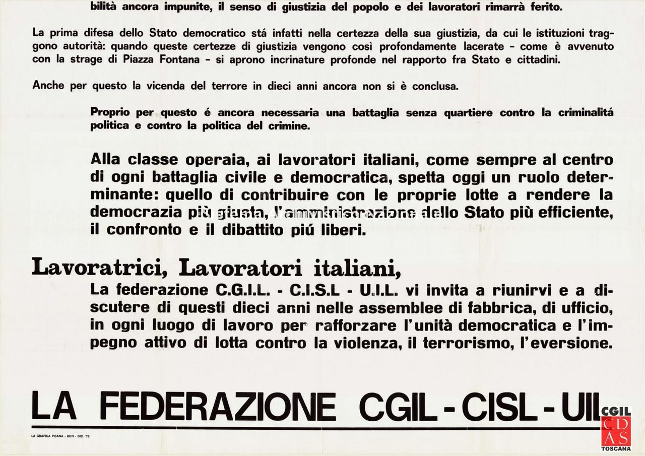 Cgil, Cisl e Uil, appello, Pisa 12 dicembre 1979