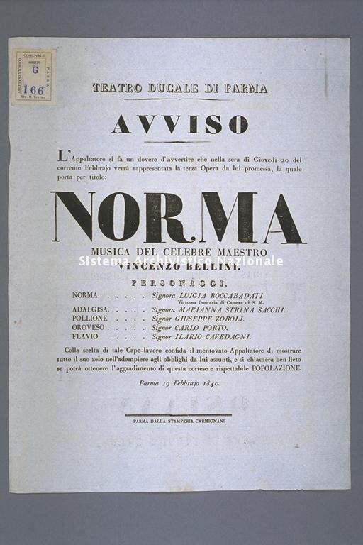 Teatro Ducale di Parma, avviso teatrale, Parma 1855