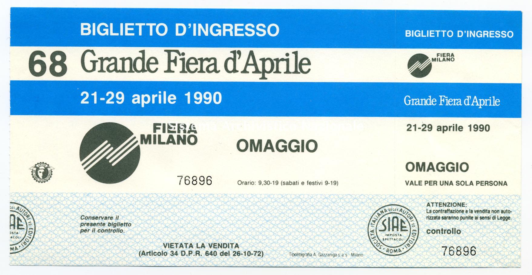 Grande Fiera D'Aprile, biglietto di ingresso, Milano 1990