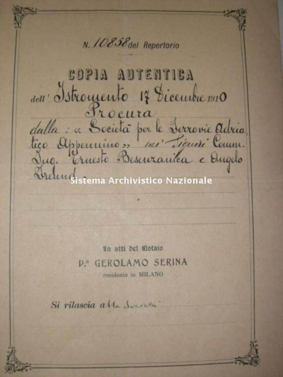Ferrovia Adriatico Sangritana, procura per la costruzione e l'esercizio, 1910