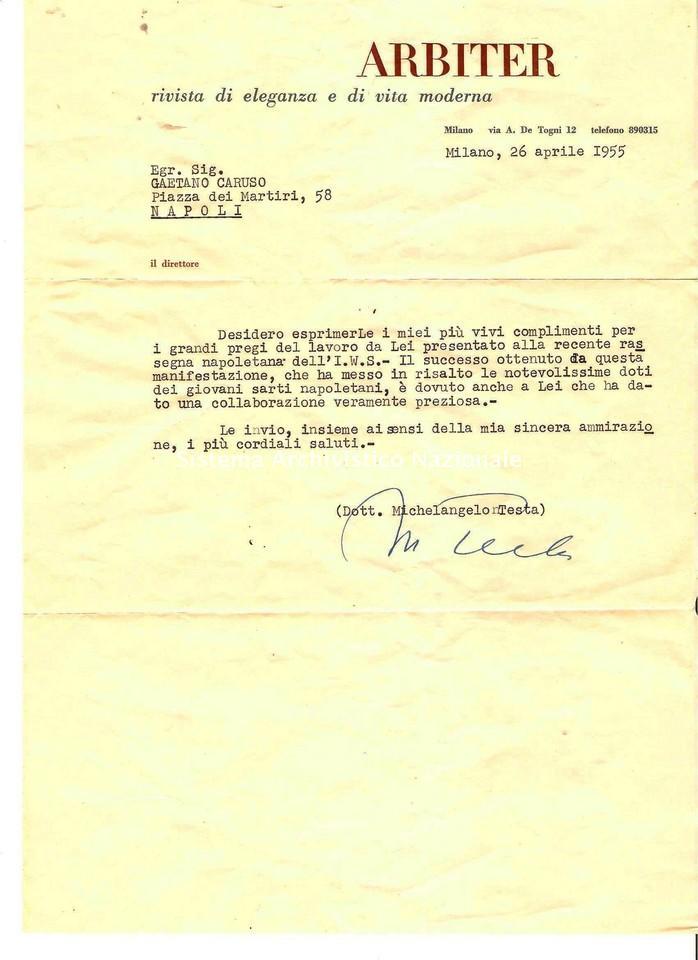 Lettera di Michelangelo Testa al sarto Gaetano Caruso, Milano 1955