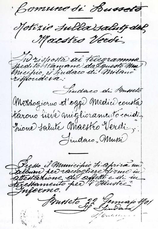 Bollettino medico di Giuseppe Verdi, gennaio 1901