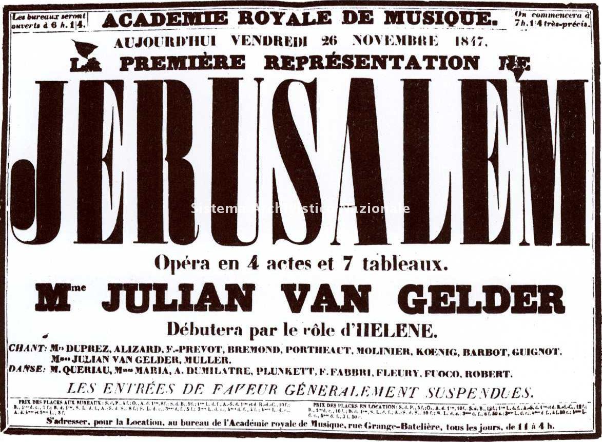 Jérusalem, manifesto, Parigi 26 novembre 1847