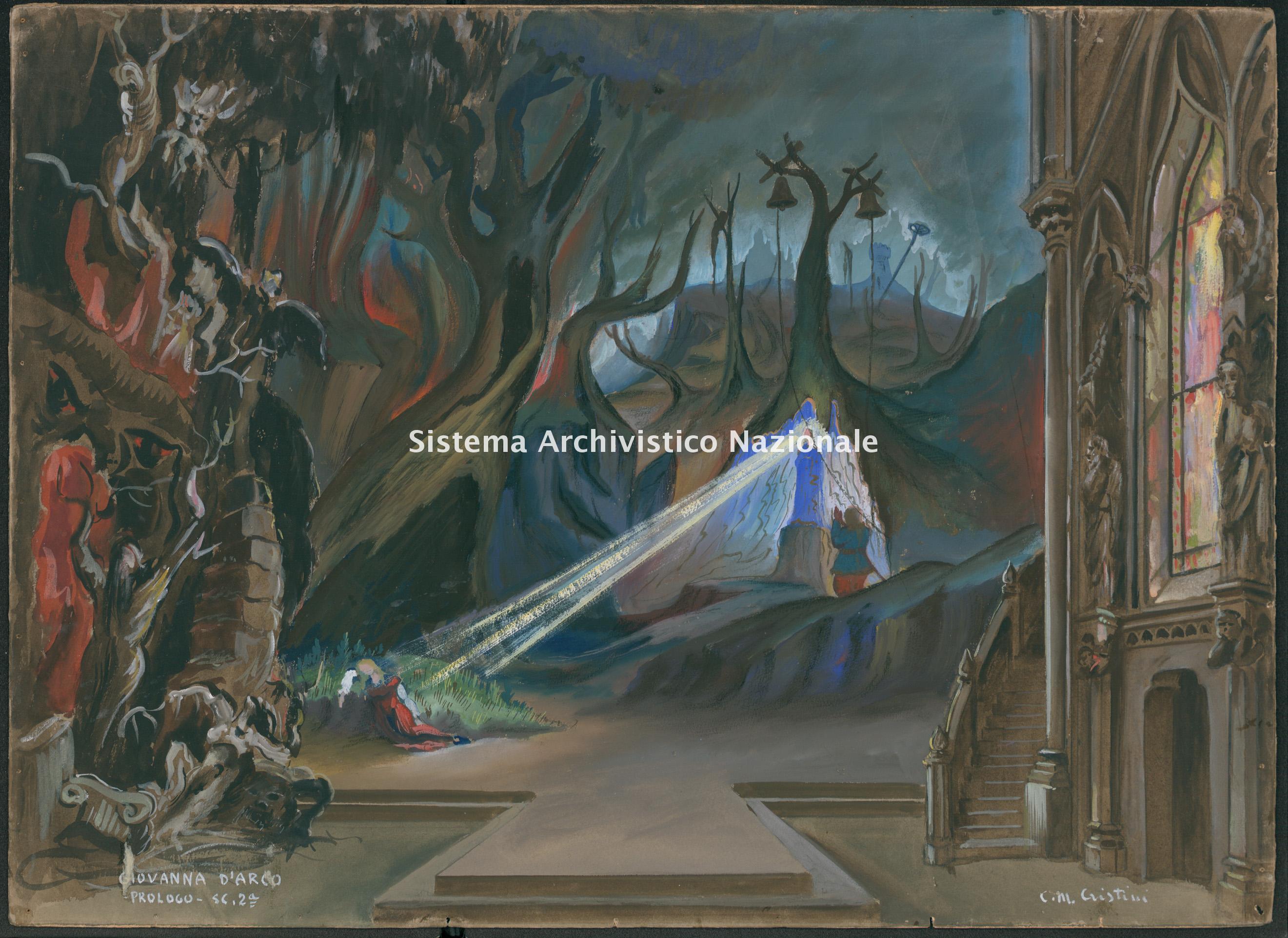 Bozzetto di scena per Giovanna d'Arco di Giuseppe Verdi, Prologo, scena seconda, 1951