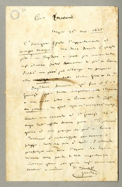 Lettera a Vincenzo Luccardi, Napoli 26 novembre [ma dicembre] 1858