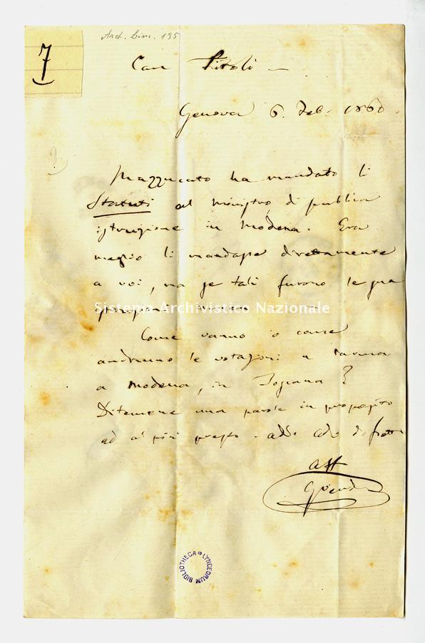 Lettera a Giuseppe Piroli, Genova 6 febbraio 1860