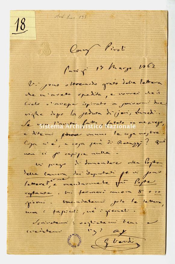 Lettera a Giuseppe Piroli, Parigi 1862