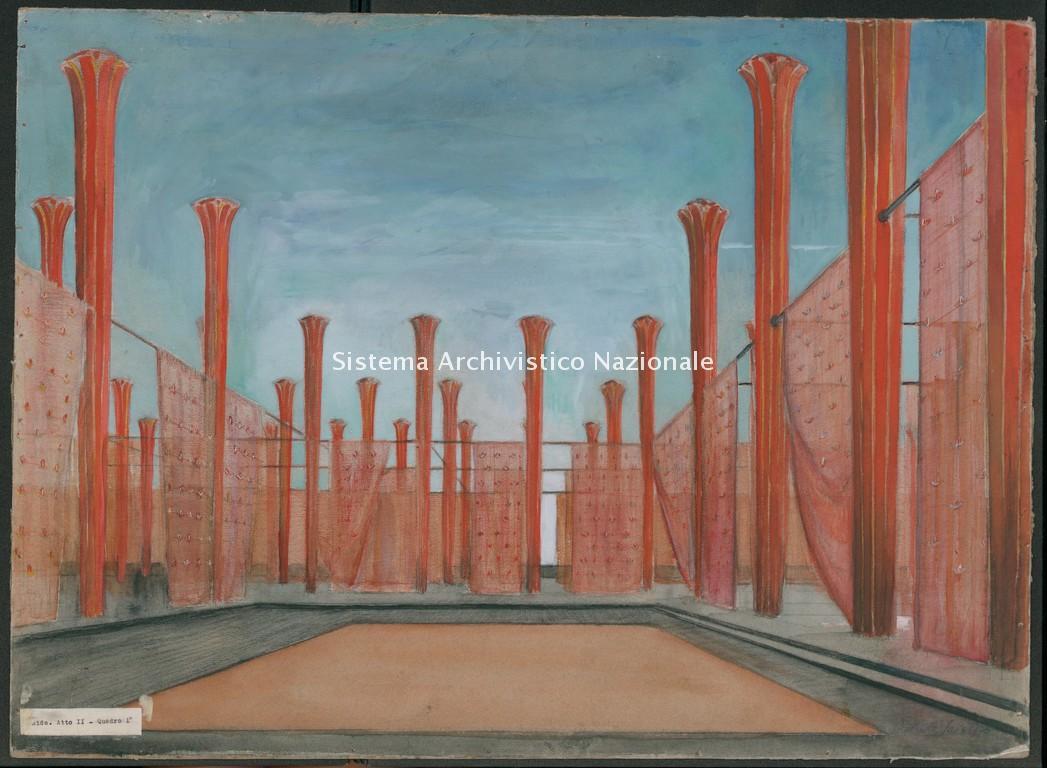 Bozzetto di Roberto Scielzo per Aida, Teatro San Carlo di Napoli 1949-50