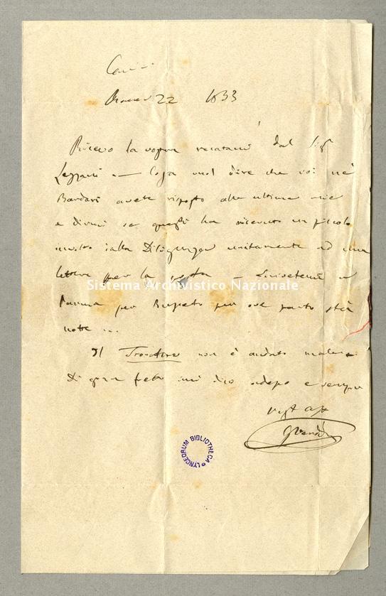 Lettera a Cesare De Sanctis, Roma 22 gennaio 1853