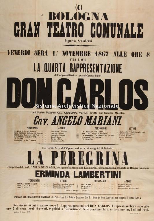 Don Carlos, Teatro Comunale di Bologna 1 novembre 1867