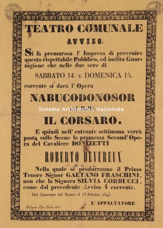 Avviso delle rappresentazioni del Teatro Comunale di Bologna, 14-15 ottobre 1843