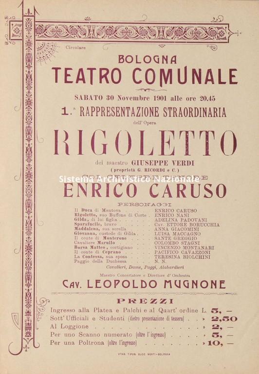 Volantino di Rigoletto al Teatro Comunale di Bologna, 30 novembre 1901