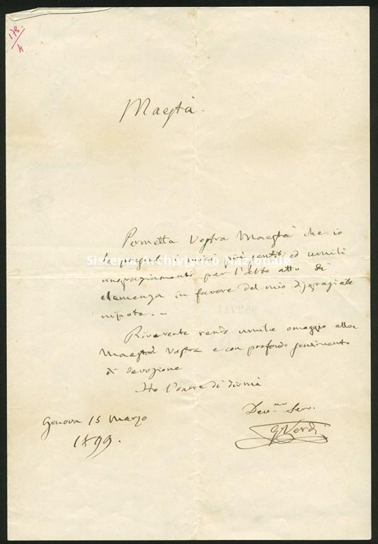 Giuseppe Verdi, lettera a Umberto I, 1899