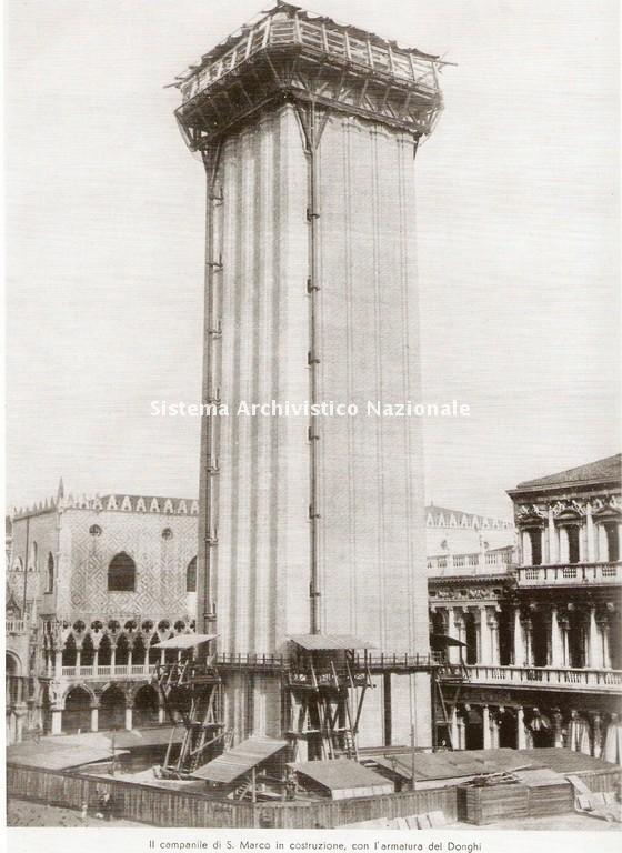 Campanile di San Marco a Venezia in costruzione, 1910-1912