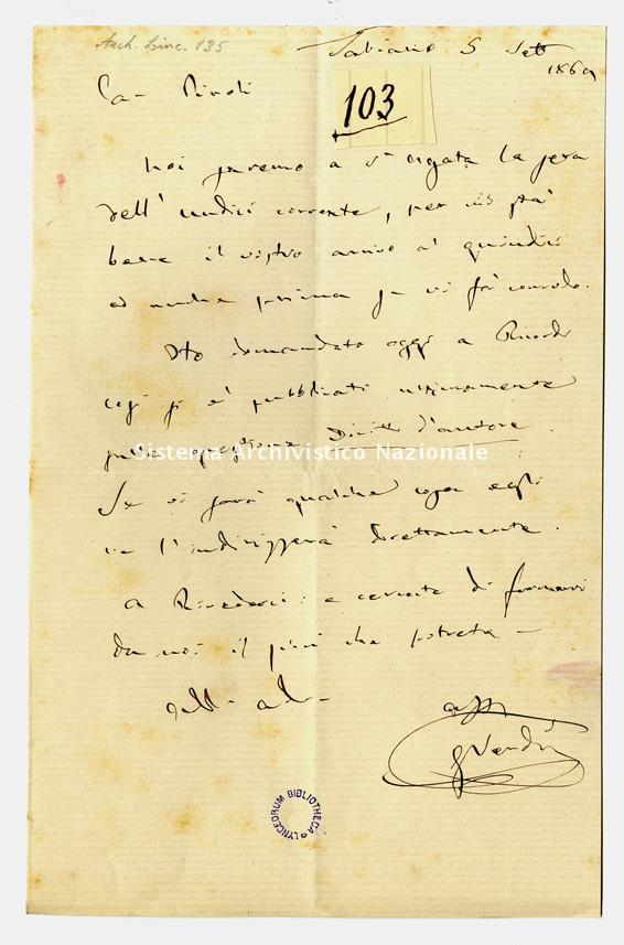 Lettera a Giuseppe Piroli, Tabiano 5 settembre 1869