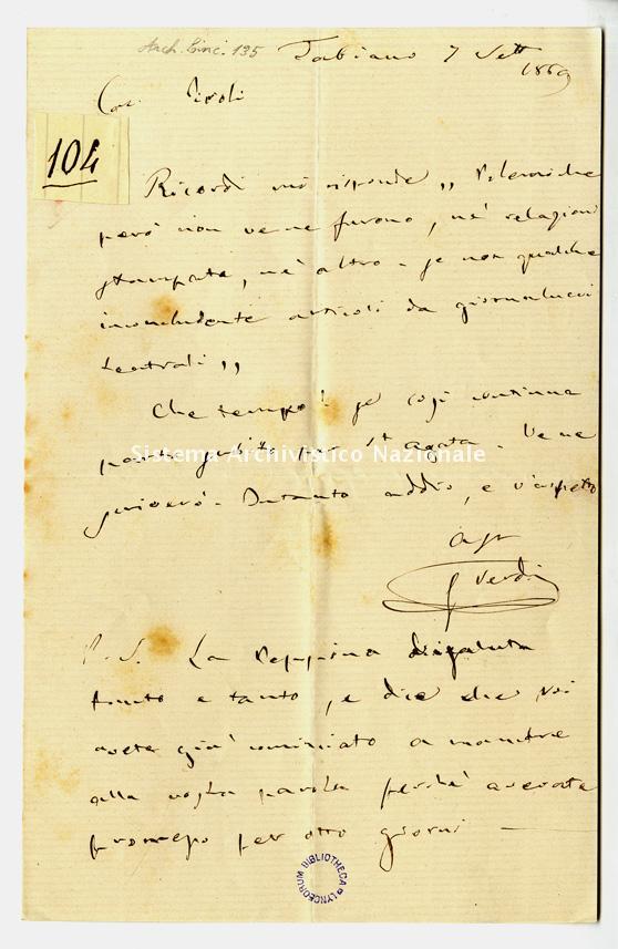 Lettera a Giuseppe Piroli, Tabiano 7 settembre 1869