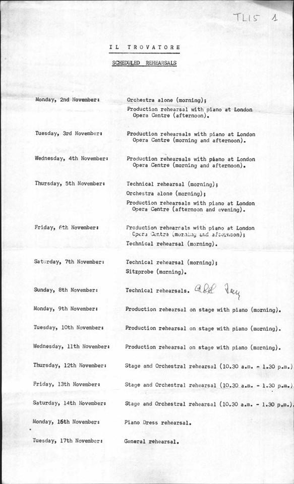 Calendario delle prove per Il trovatore al Covent Garden, Londra 1964
