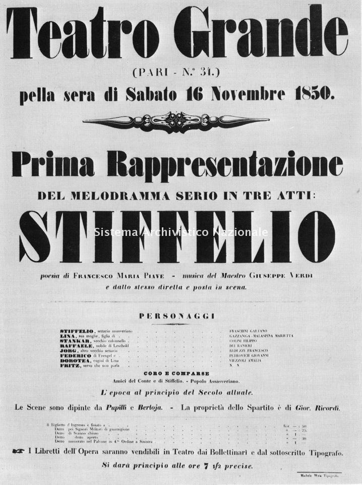 Stiffelio, manifesto, 1850