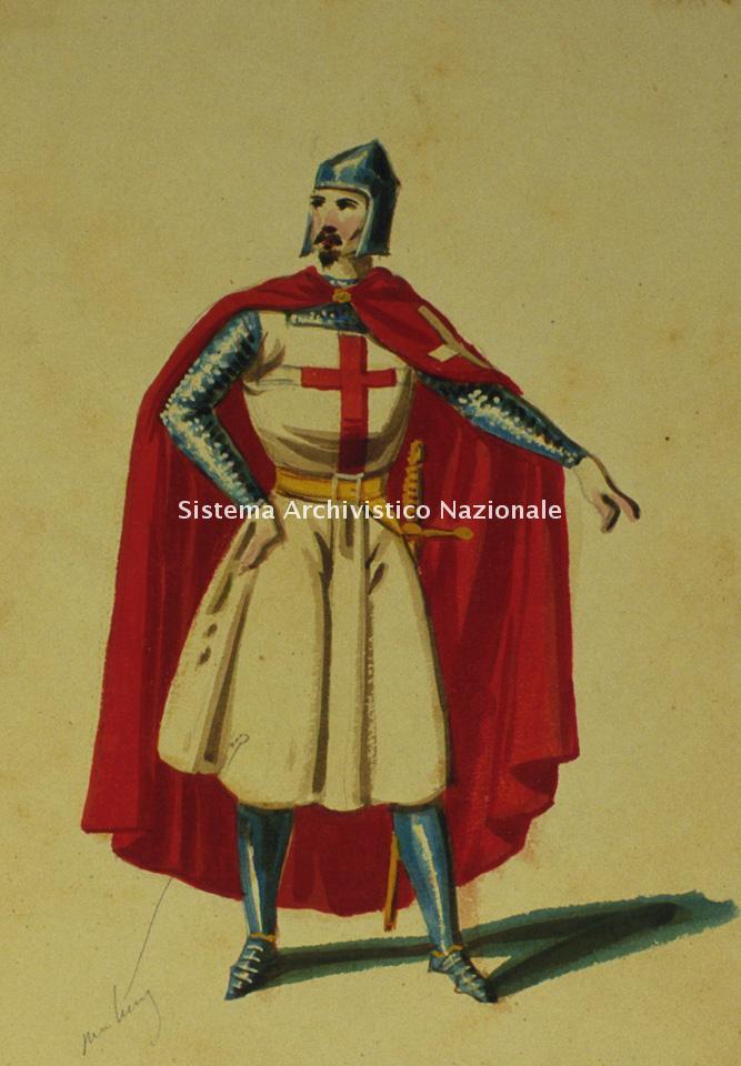 Filippo Del Buono, figurino per I lombardi alla prima crociata, sec. XIX