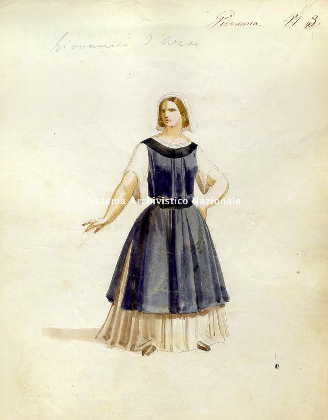 De Capitani, figurino per Giovanna d'Arco, 1857-1858