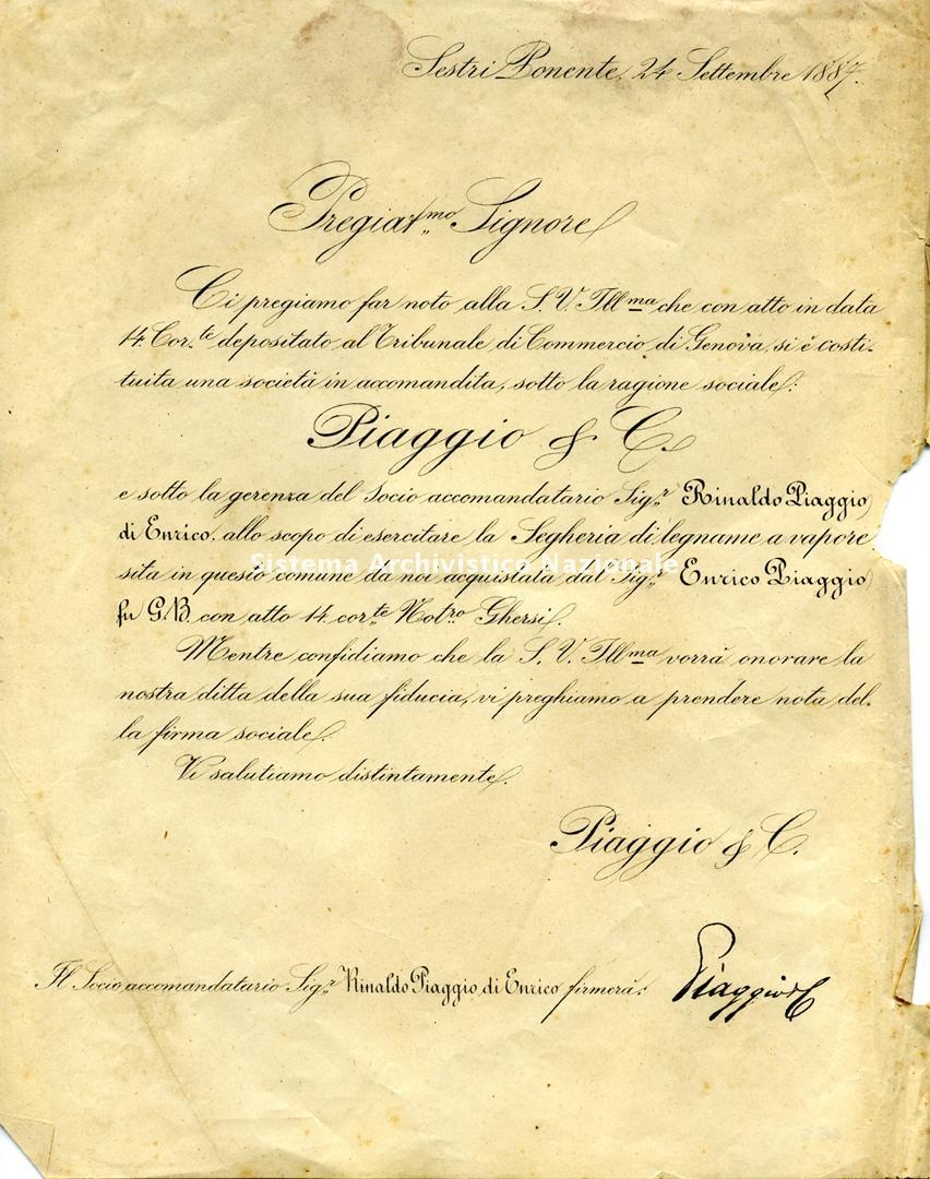 Piaggio & C. spa, atto costitutivo, 24 settembre 1887
