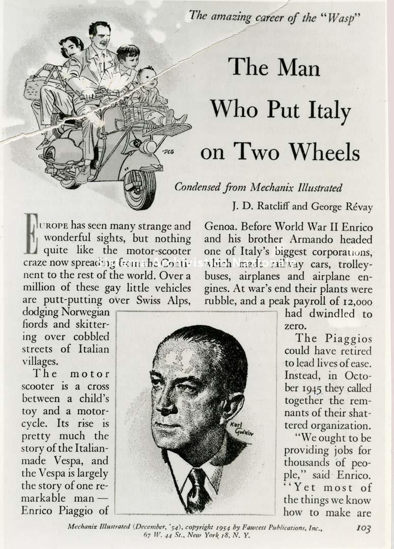 Piaggio & C. spa, articolo commemorativo, 1954