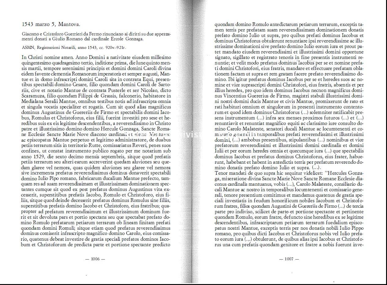 14. Archivio di Stato di Mantova, Giulio Romano. Repertorio di fonti documentarie, a cura di Daniela Ferrari, Roma, 1992