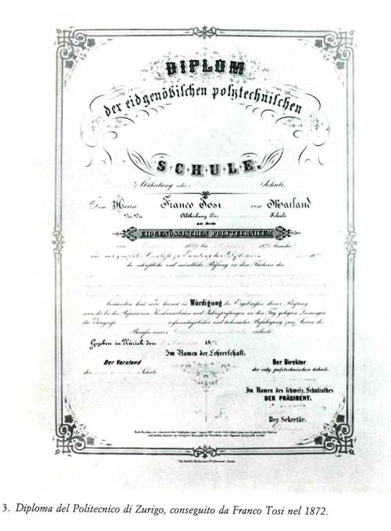 Diploma del Politecnico di Zurigo conseguito da Franco Tosi nel 1872
