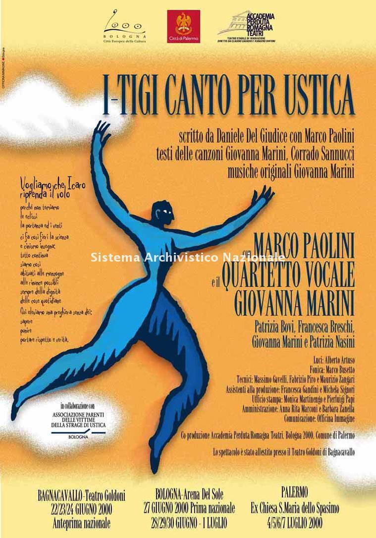 Strage di Ustica, manifesto commemorativo, Bagnacavallo, Bologna e Palermo 2000