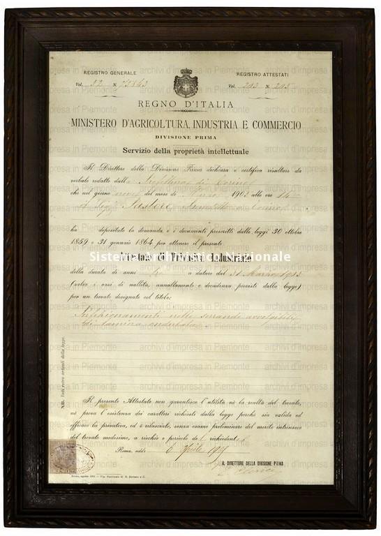 Pastore, attestato di privata industria rilasciato a Benedetto Pastore, Roma 6 aprile 1909