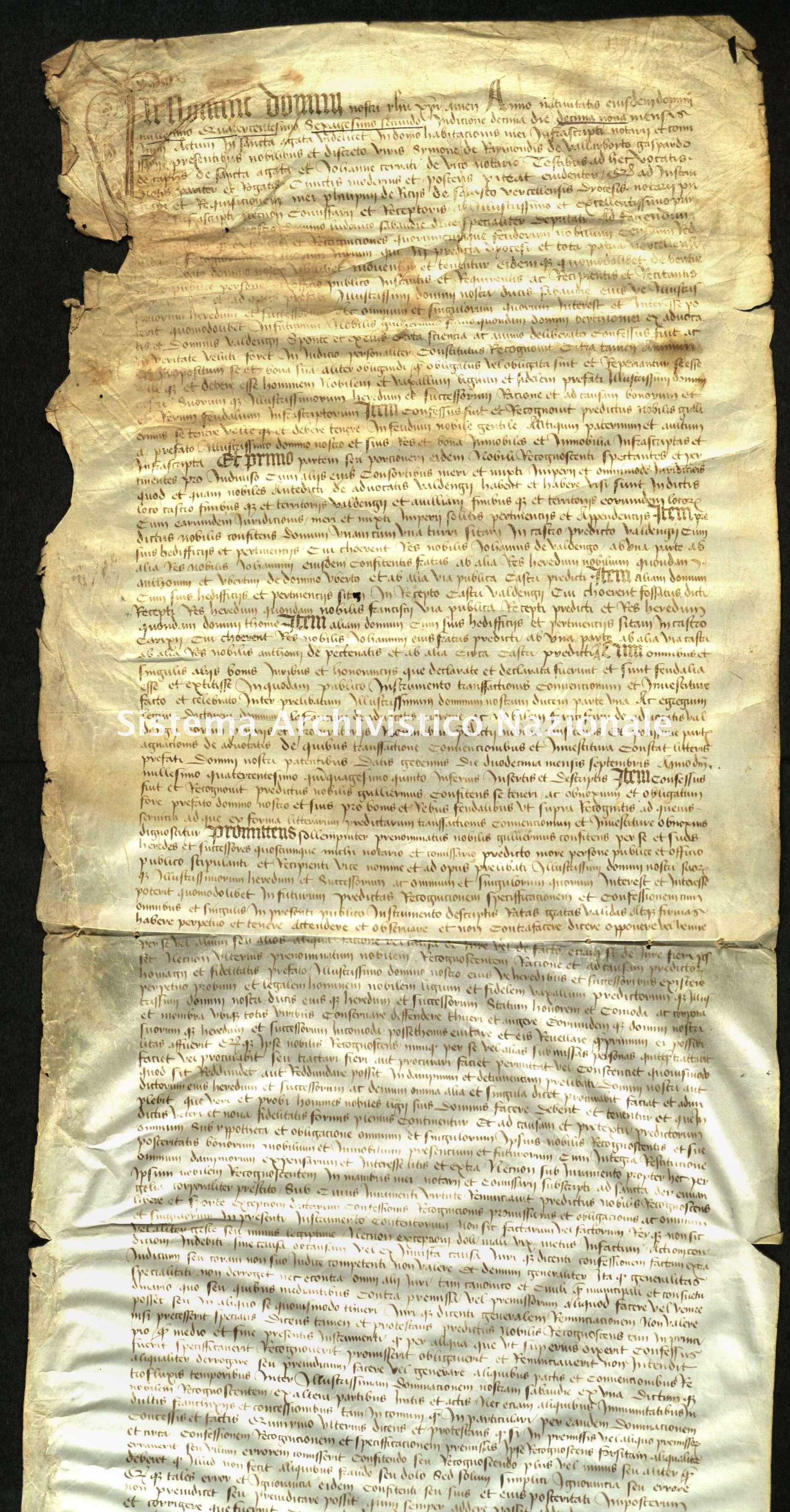Archivio di Stato di Biella, Avogadro di Valdengo, Pergamene I, Sant'Agata 19 giugno 1462