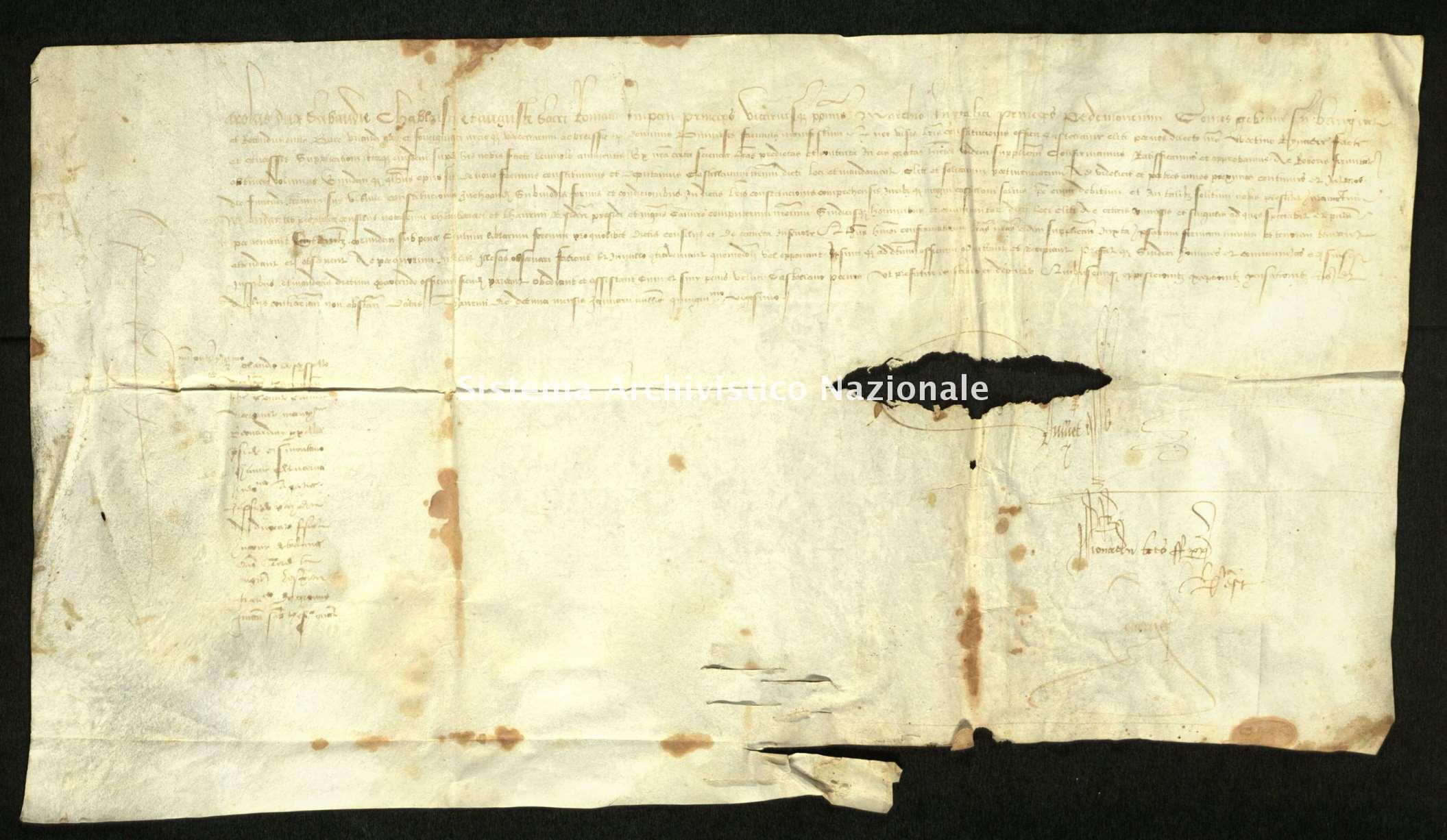 Archivio di Stato di Biella, Avogadro di Valdengo, Pergamene I, Torino 8 gennaio 1520