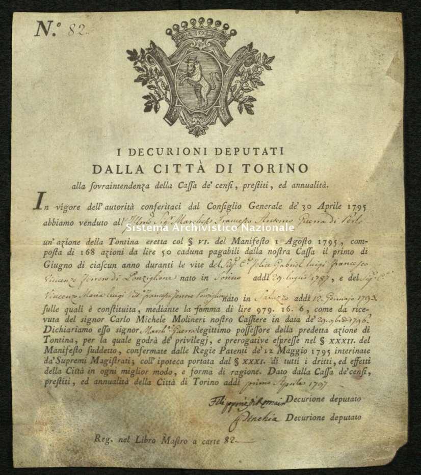 Archivio di Stato di Biella, Avogadro di Valdengo, Pergamene I, Torino 1 aprile 1797