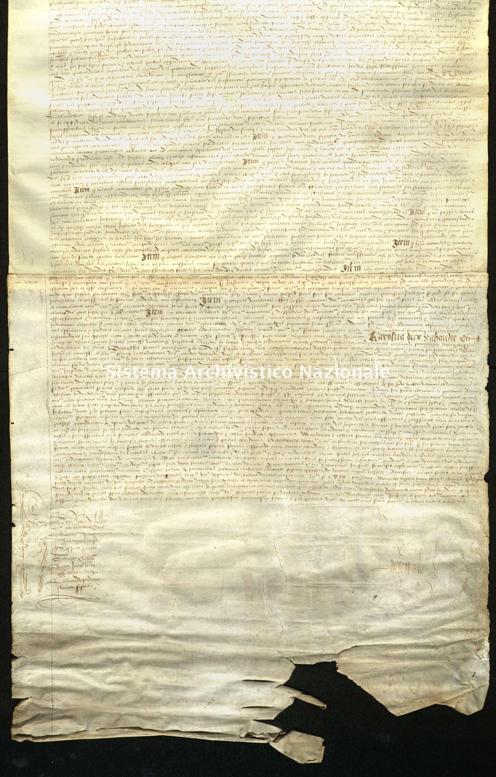 Archivio di Stato di Biella, Avogadro di Valdengo, Pergamene I, Vercelli 23 febbraio 1551